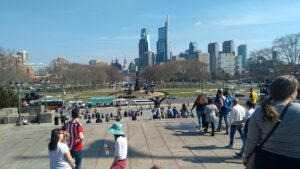 City center view from Philadelphia Museum of Art stairs